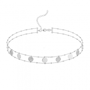 Choker Sun between Diamonds Silver