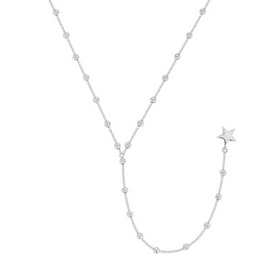 Lariat Star Balls Silver Necklace