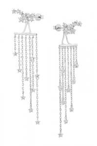 Waterfall Diamonds Silver Earring