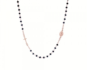 Rose Gold Onyx Rosary Necklace