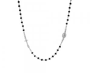 Silver Onyx Rosary Necklace