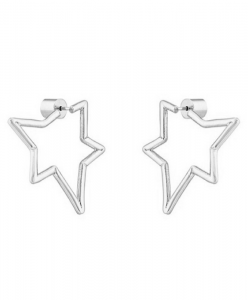 Asymetric Star Silver Earrings