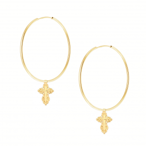 Kolczyki Antique Faith Hoops Gold