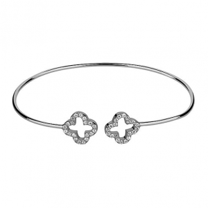 Bransoletka Bangle Flower Silver
