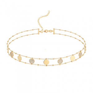 Choker Sun between Diamonds Gold
