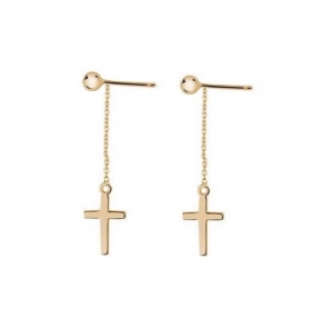 Cross Long Earrings